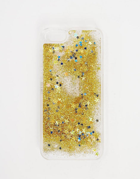 Gold falling stars liquid case-Iphone & Samsung - The Glitzy Shop