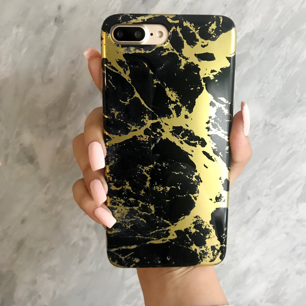 Black Marble Chrome Case-Gold - The Glitzy Shop