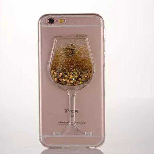 free shipping 5af8d fabd6 Gold liquid Wine Glass Glitter Case-Iphone