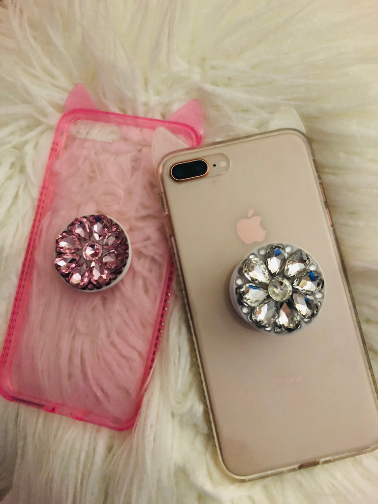 Cat ears transparent case for Iphone with holder - The Glitzy Shop