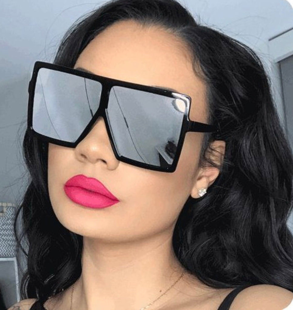 """Fierce"" flat top square sunglasses - The Glitzy Shop"