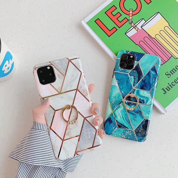 Marble phone case with matching ring - The Glitzy Shop