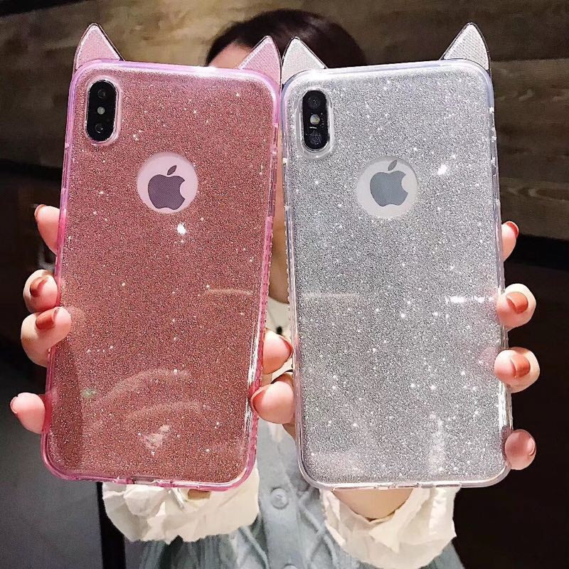 Cat ears glitter case for Iphone with matching phone holder - The Glitzy Shop