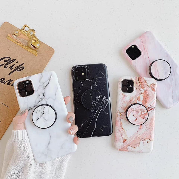 Marble phone case with free matching grip - The Glitzy Shop