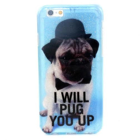 """I WILL PUG YOU UP"" Iphone case-CLEARANCE - The Glitzy Shop"
