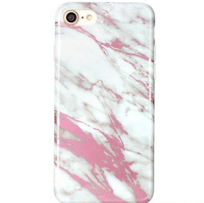White Marble Chrome Case-Pink - The Glitzy Shop