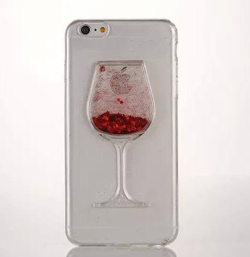 Red Wine Glass Glitter Case-Iphone - The Glitzy Shop