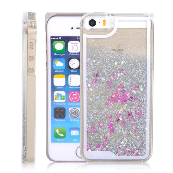 Silver falling stars liquid case-Iphone & Samsung - The Glitzy Shop