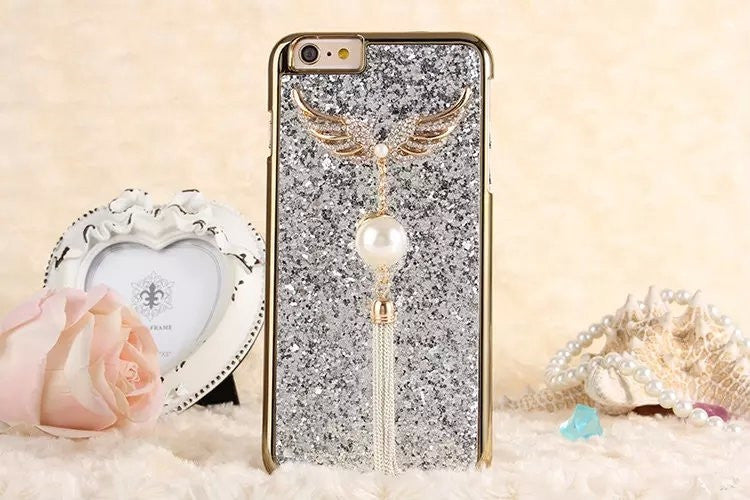 Angel wings bling encrusted tassel case-Iphone - The Glitzy Shop