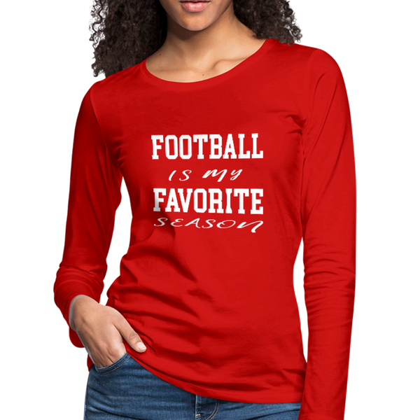 Football is my favorite season long-sleeve t-shirt - red