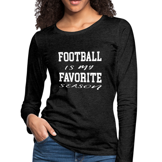 Football is my favorite season long-sleeve t-shirt - charcoal gray