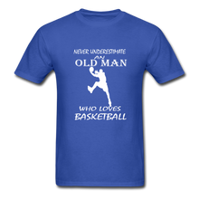 Never Underestimate An Old Man t-shirt - royal blue