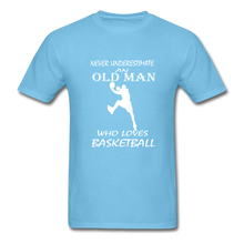 Never Underestimate An Old Man t-shirt - aquatic blue