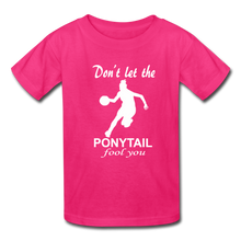 Don't Let The Ponytail Fool You-kid's t-shirt - fuchsia