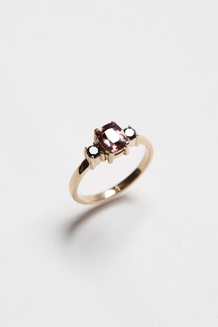 14k Gold Black Diamond and Purple Spinel Ring