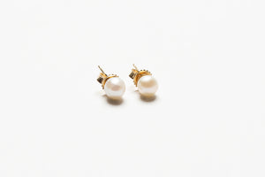 14k Gold Natural Pearl Studs