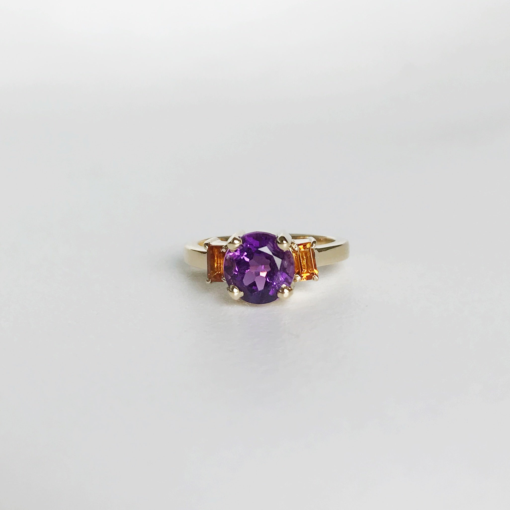Amethyst and citrines ring