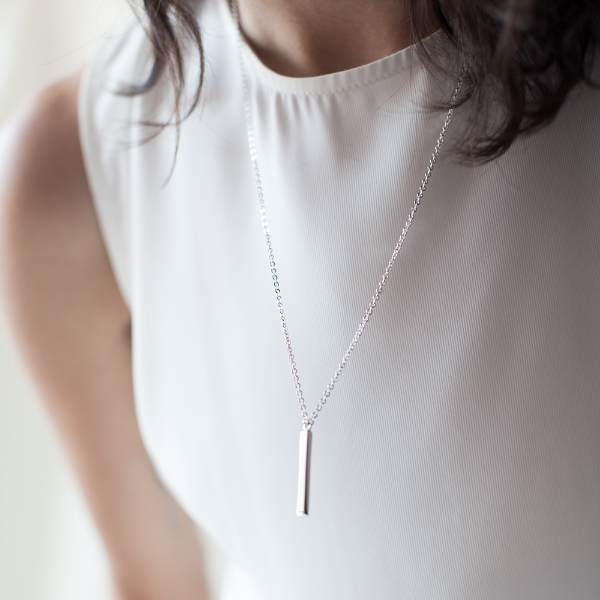 Mini Bar Necklace Silver