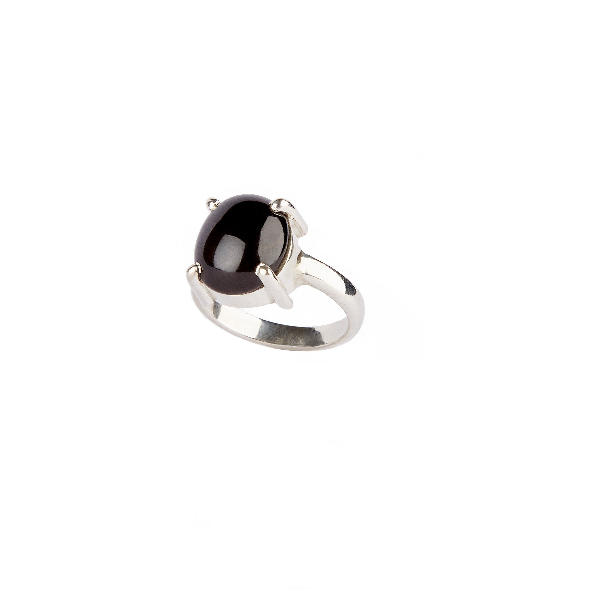 Sterling Silver Oval Onix Ring