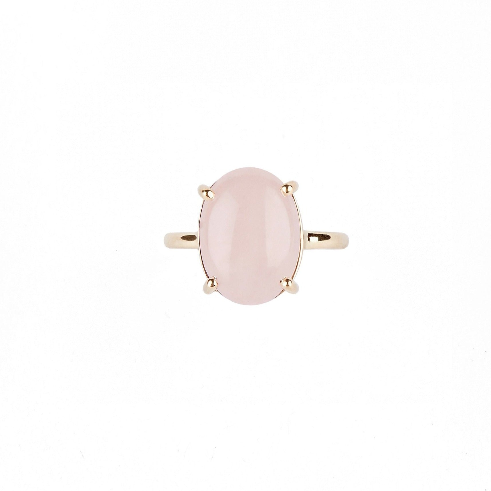 14k Yellow Gold Oval Rose Quartz Ring