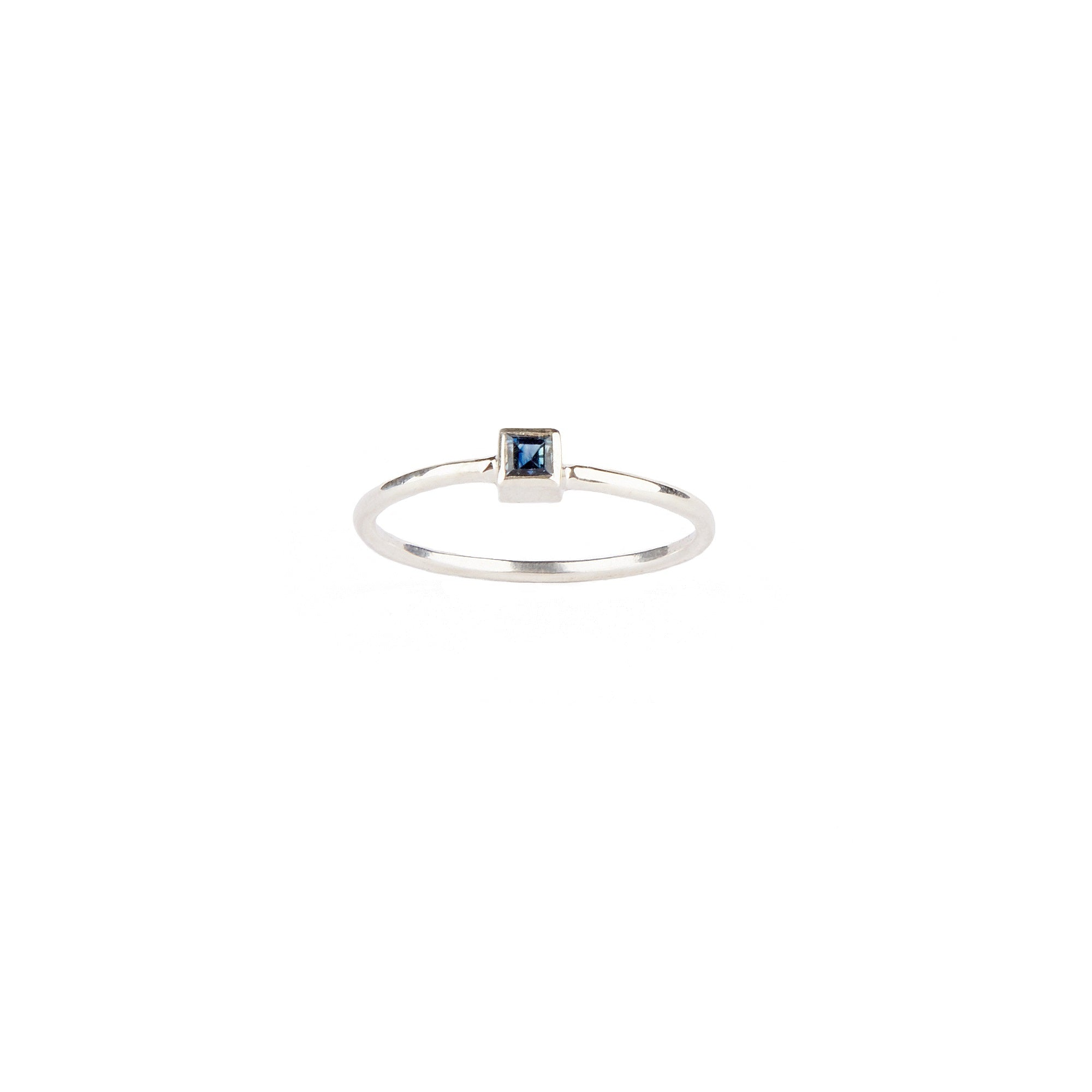 Sterling Silver Square Sapphire Ring