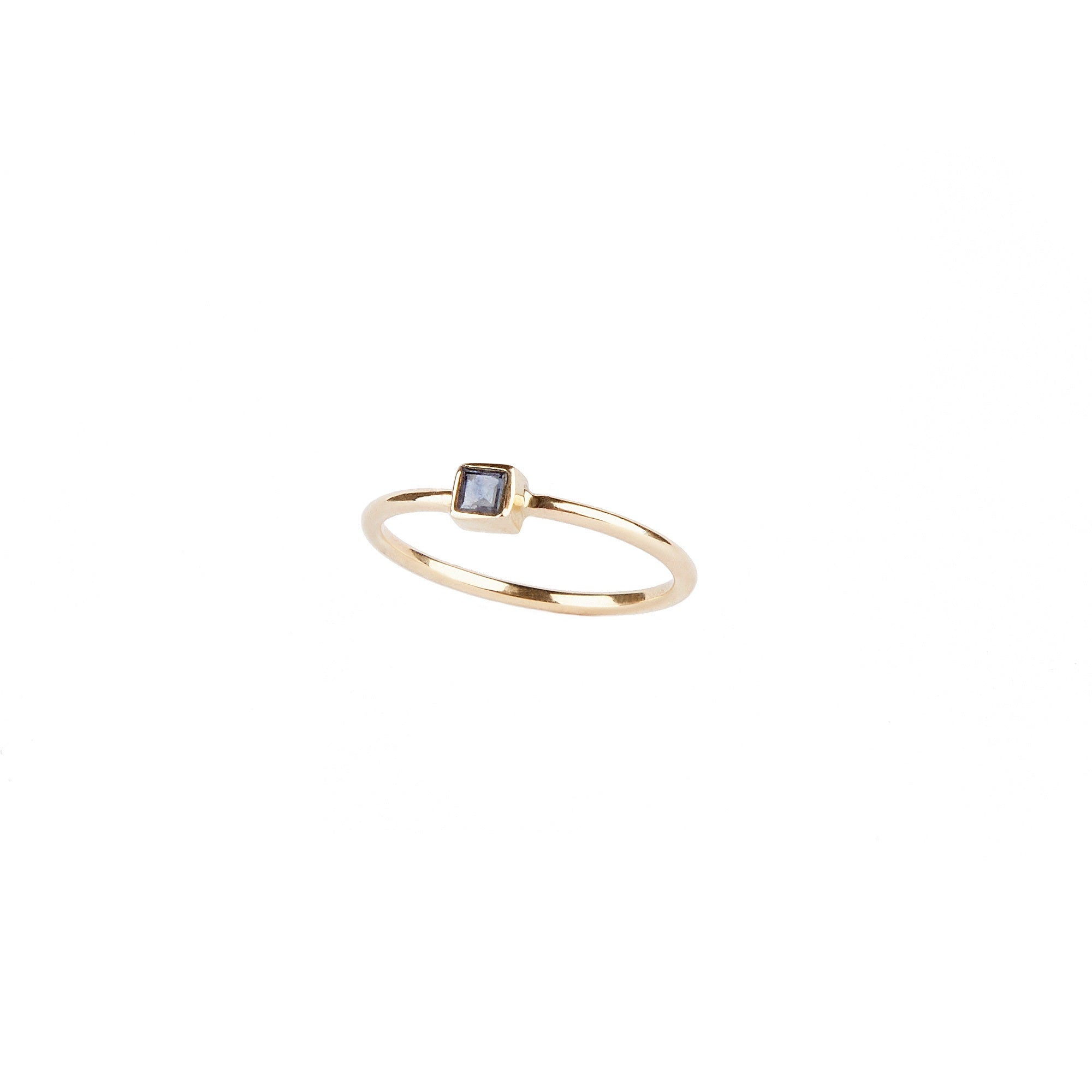 14k Yellow Gold Square Blue Sapphire Ring