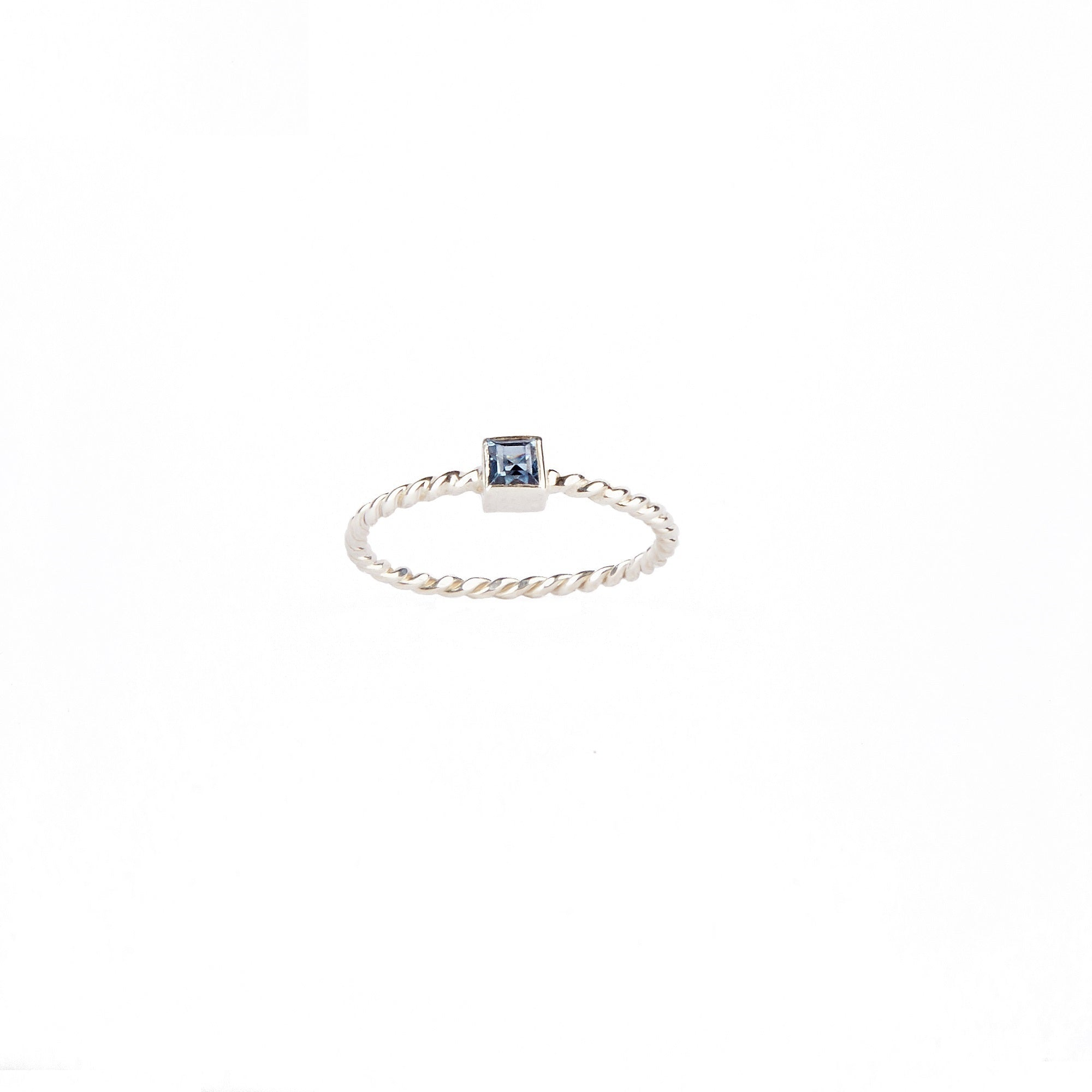 Sterling Silver Square Sapphire Ring Twisted Band