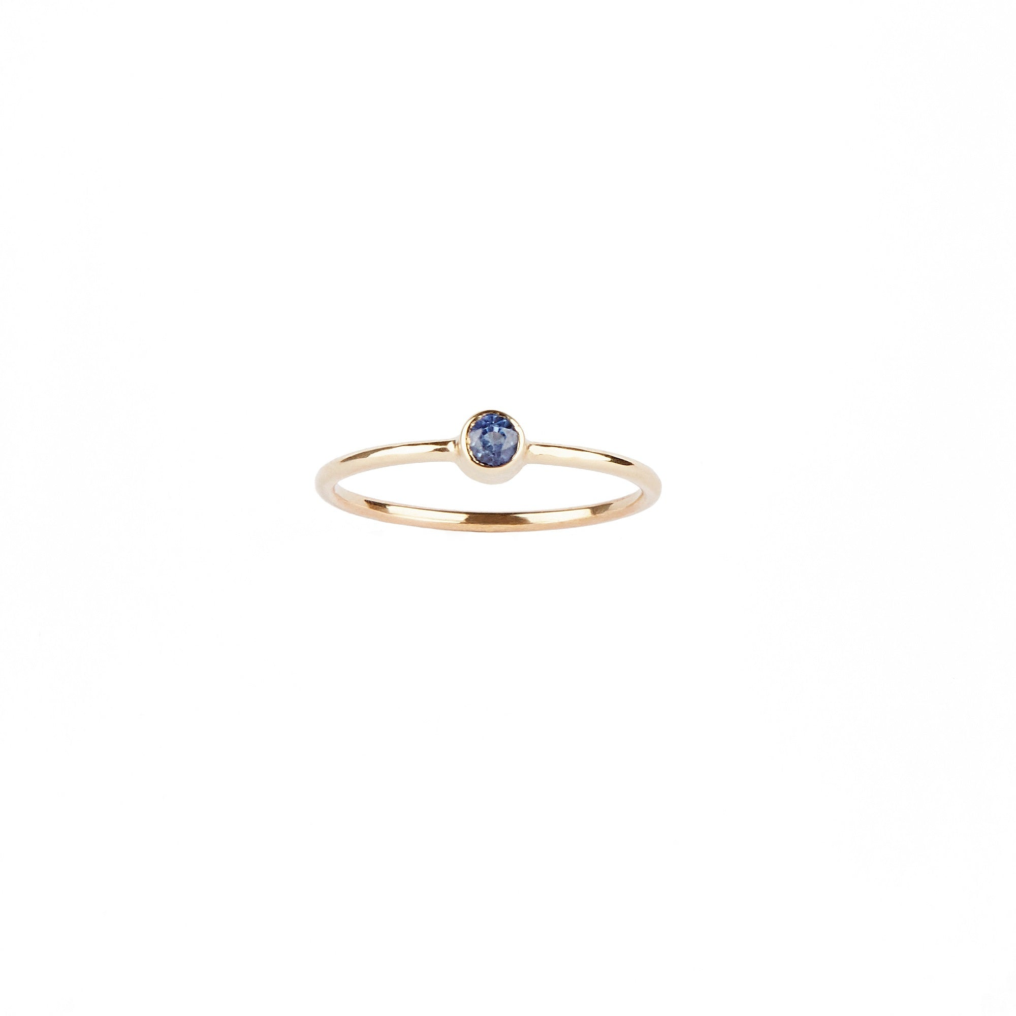 14k Yellow Gold Blue Round Sapphire Ring
