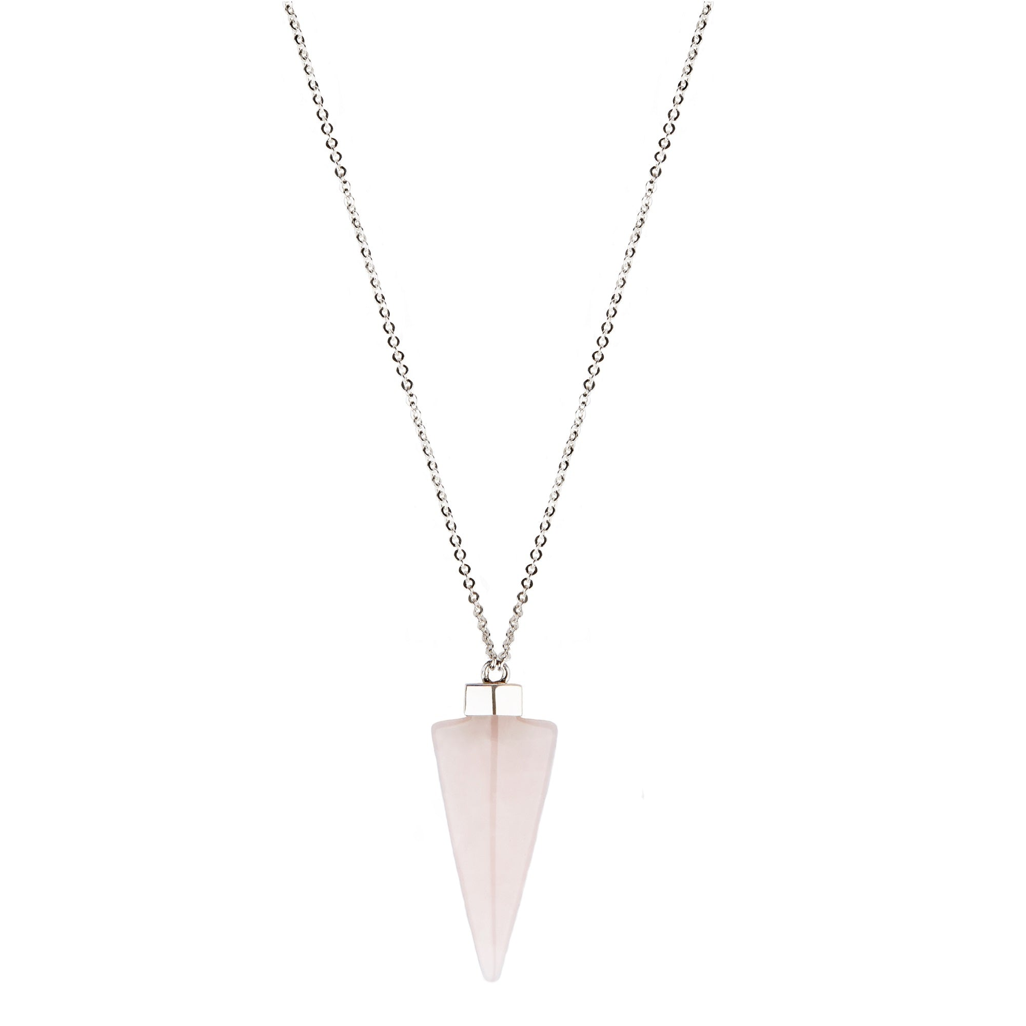 Sterling Silver Rose Quartz Spearhead Necklace