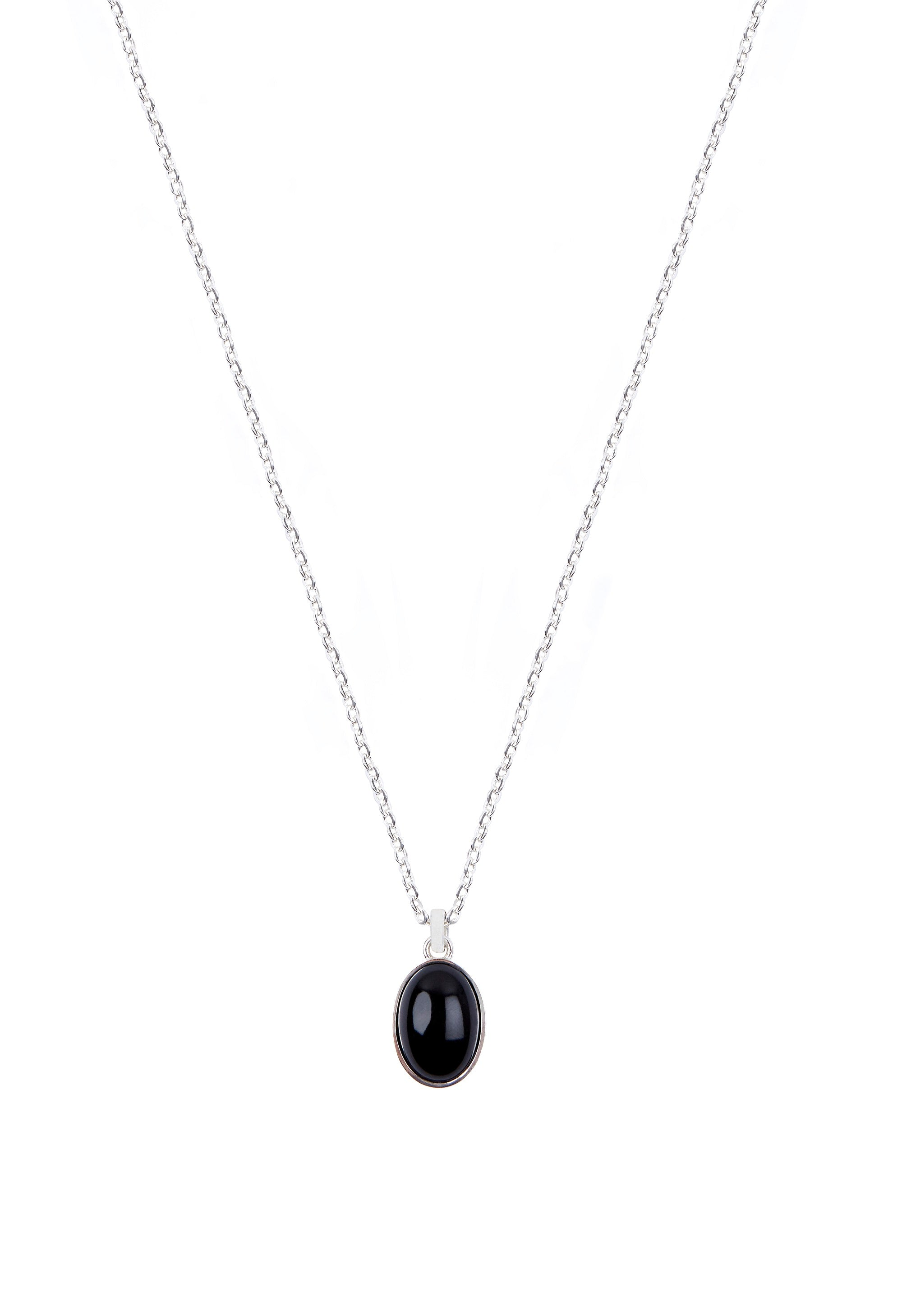 Oval Cabochon Onix Necklace Silver