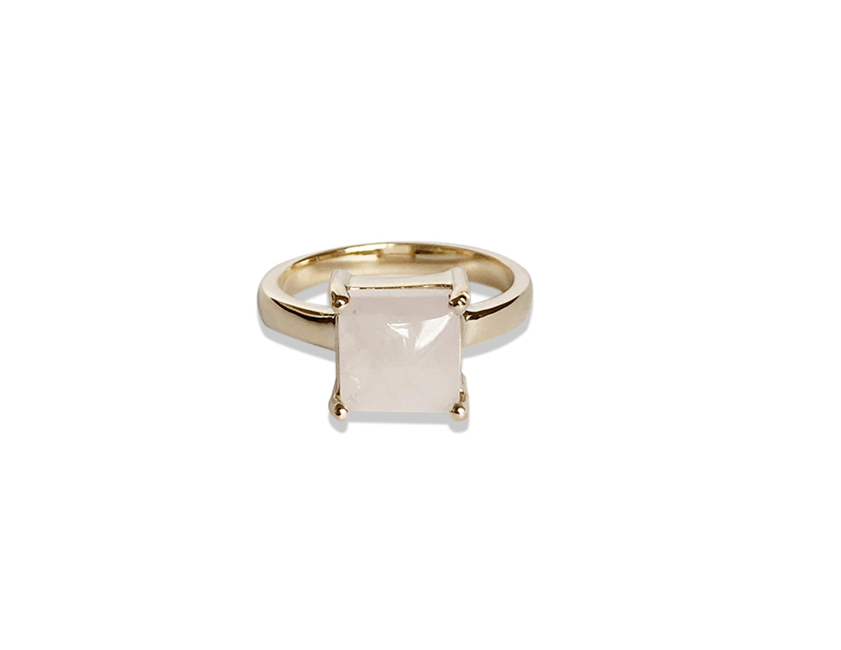 14k Yellow Gold Thick Rose Quartz Ring
