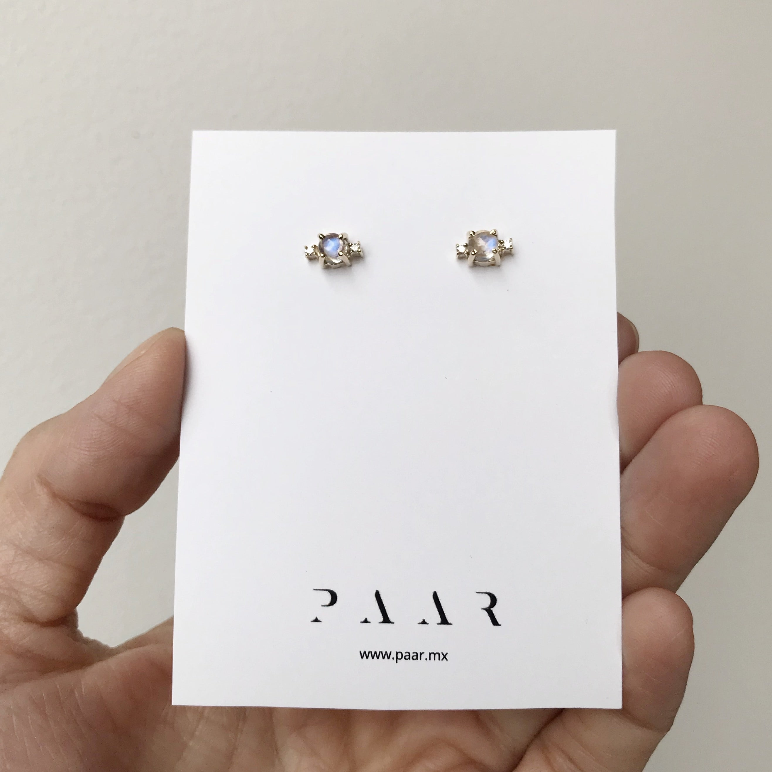 14k Gold Moonstone and Diamonds Studs
