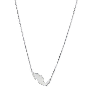 Mexico Map Necklace Silver