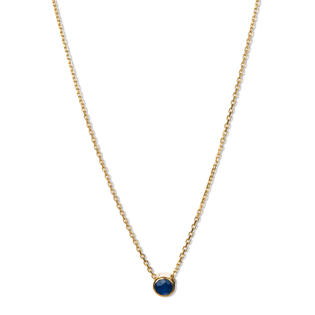 Dark Blue Sapphire Solitary Necklace