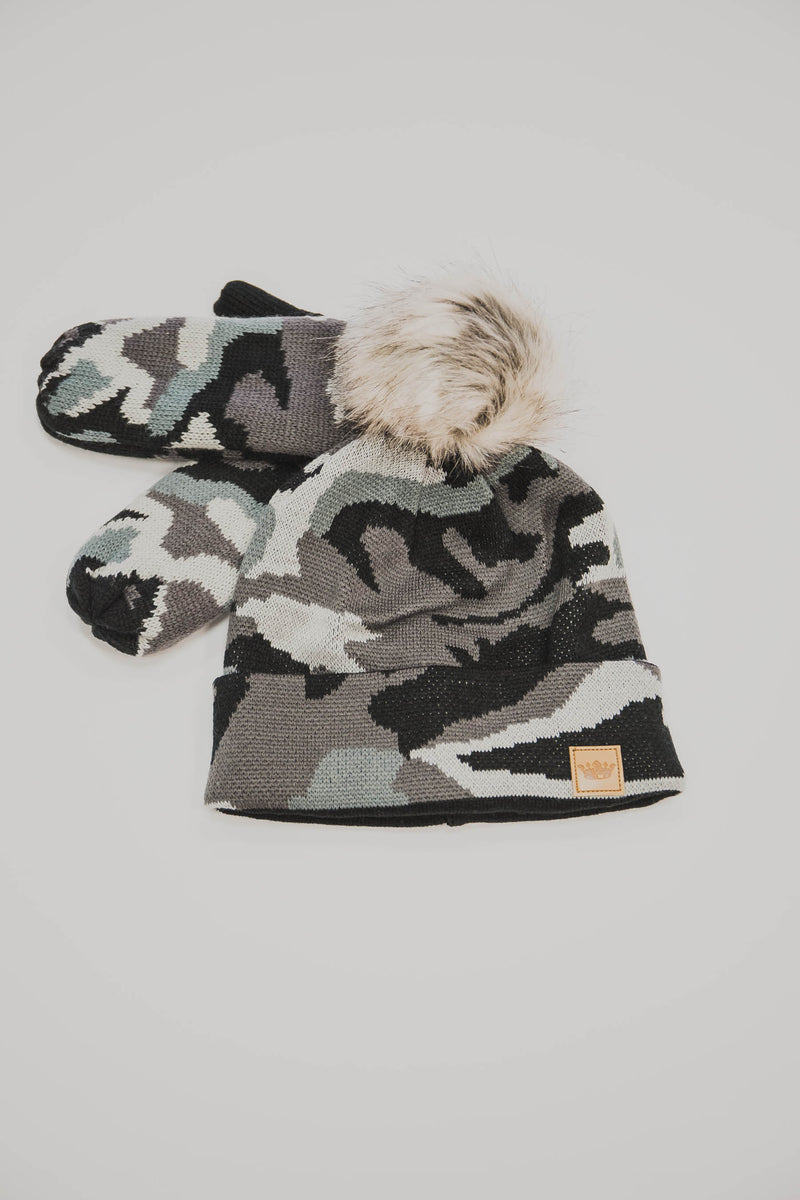 Camo Knit Hat with Pom Accent