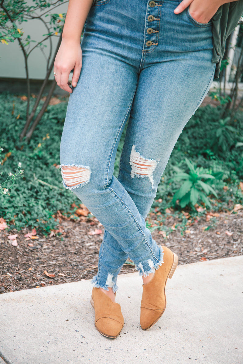 Sarah High-Rise Skinny Button-Fly Jeans