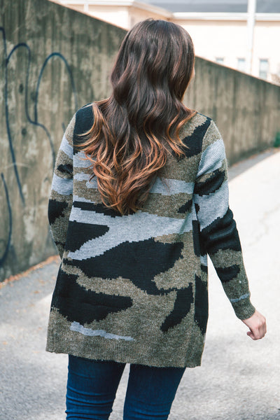 RESTOCKED - Wylma Camo Sweater Cardigan