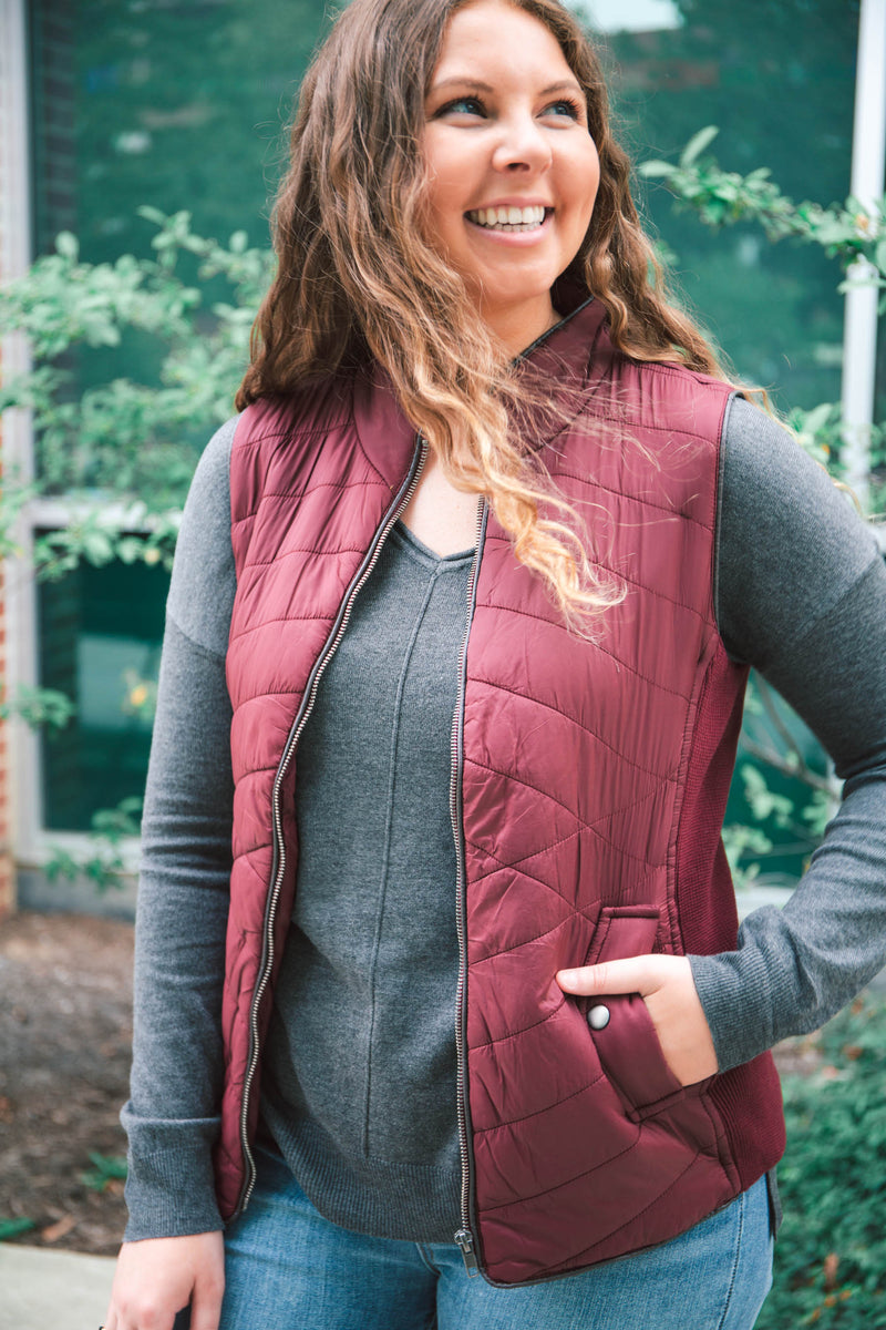 Slim Fit Puffer Vest - Grace and Lace