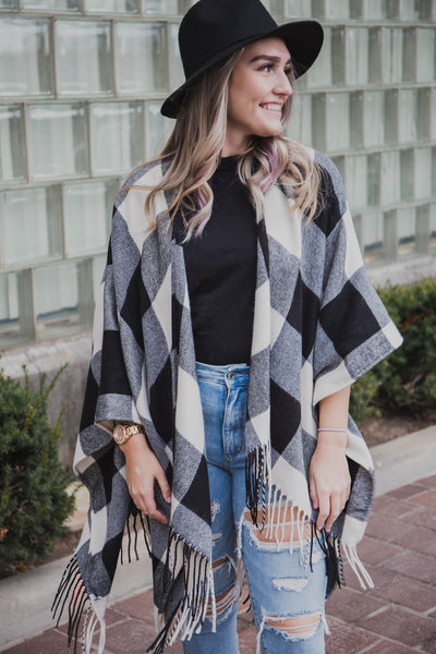 Buffalo Checkered Tassel Poncho (FINAL SALE)