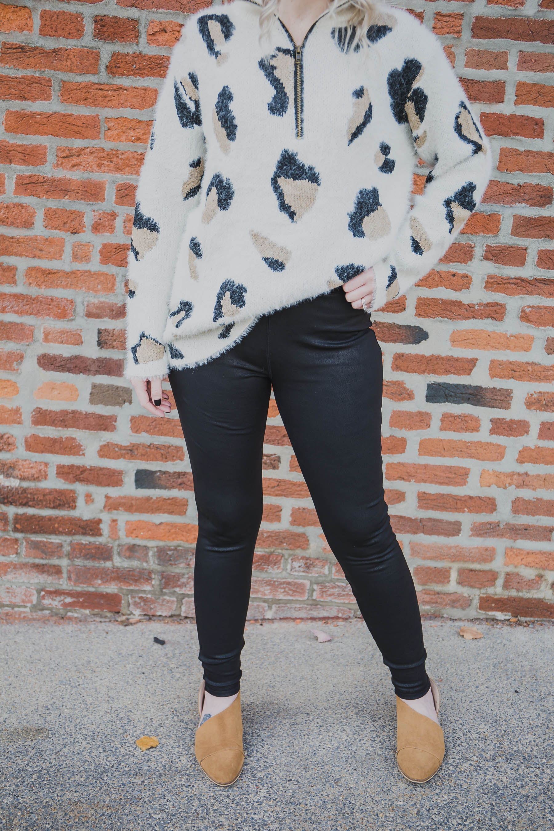 Leather Look Fleece Lined Leggings - Grace and Lace (FINAL SALE)
