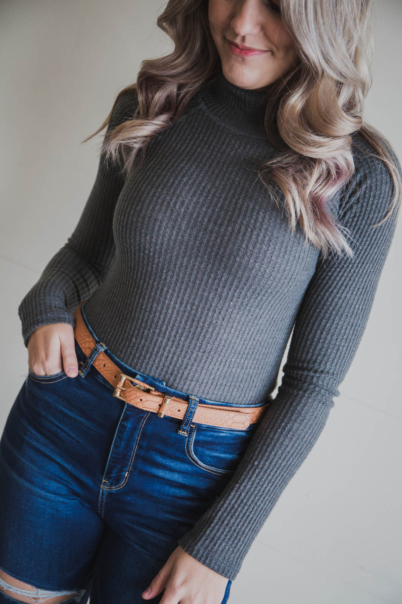 Holly Knit Turtle Neck Bodysuit (FINAL SALE)
