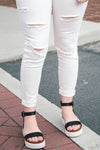 White Distressed Ankle Jeggings - Grace and Lace