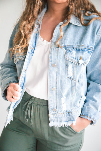 Penny Distressed Denim Jacket (FINAL SALE)