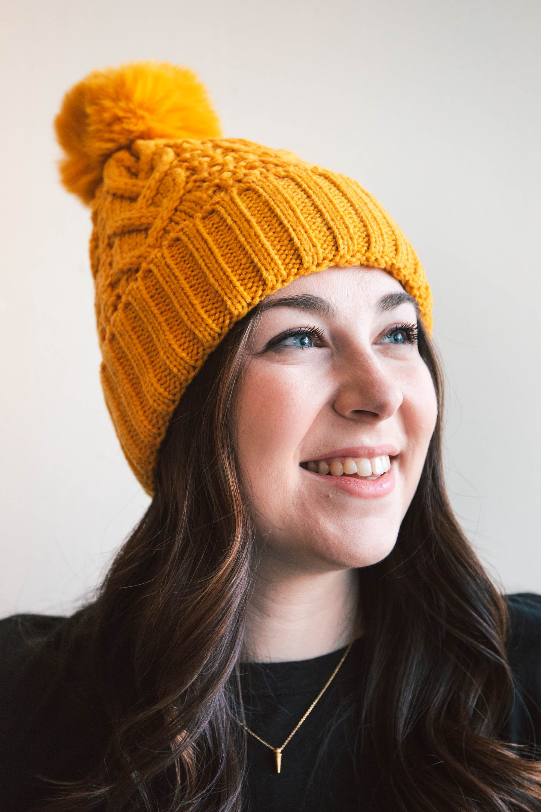 Cable-Knit Pom Beanie with Thermal Lining