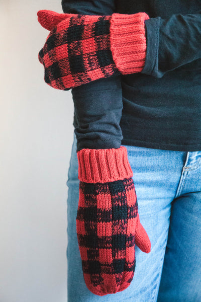 Plaid Fleece-Lined Mittens