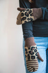 Leopard Striped Fleece-Lined Mittens