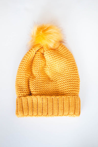 Pom Beanie with Faux Sherpa Lining