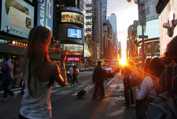 Manhattanhenge coucher du soleil new york