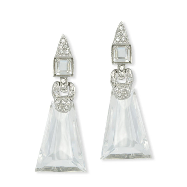 KENNETH JAY LANE Art Deco Clip-on Earrings, Crystal