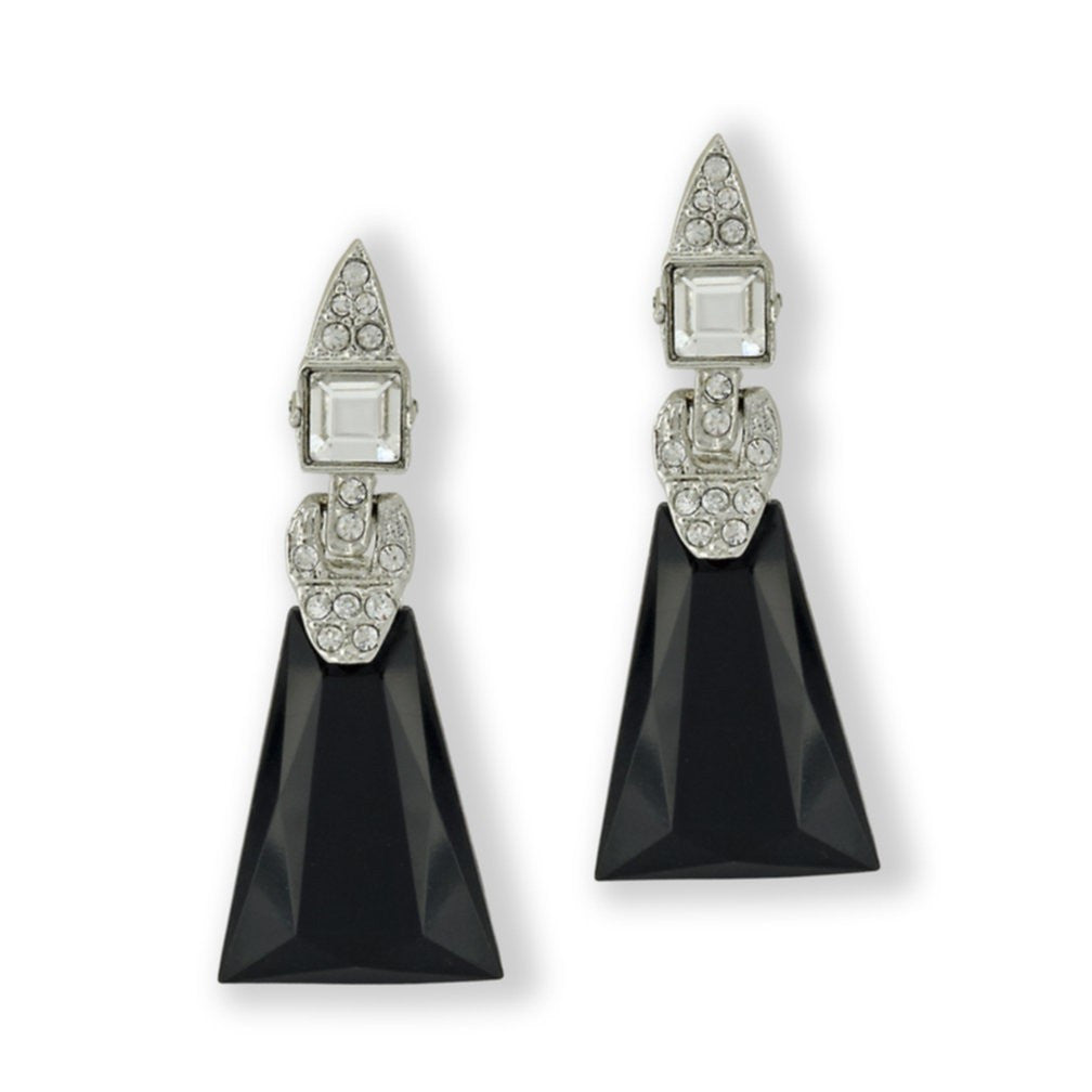 Kenneth Jay Lane White And Black Drop Clip Earrings Silver/jet Hu60VQ8T